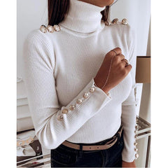 Button solid high collar top