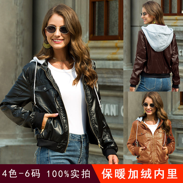 Plush and thickened hooded leather coat