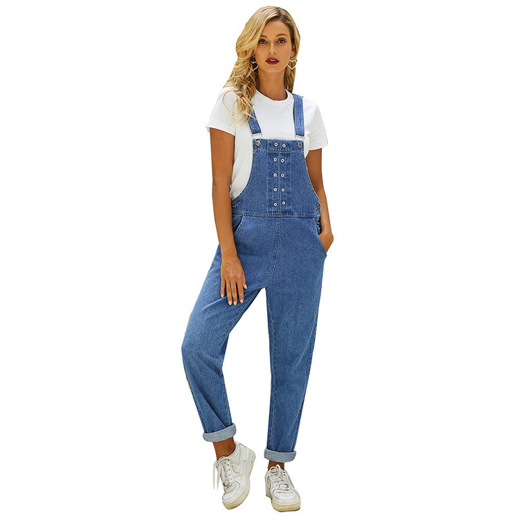 Suspenders women's new blue high waist pants in spring and summer 2021 casual suspender jeans