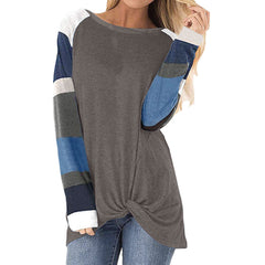 Fall New Amazon popular 2020 women's color contrast top long sleeve light sports shirt T-shirt