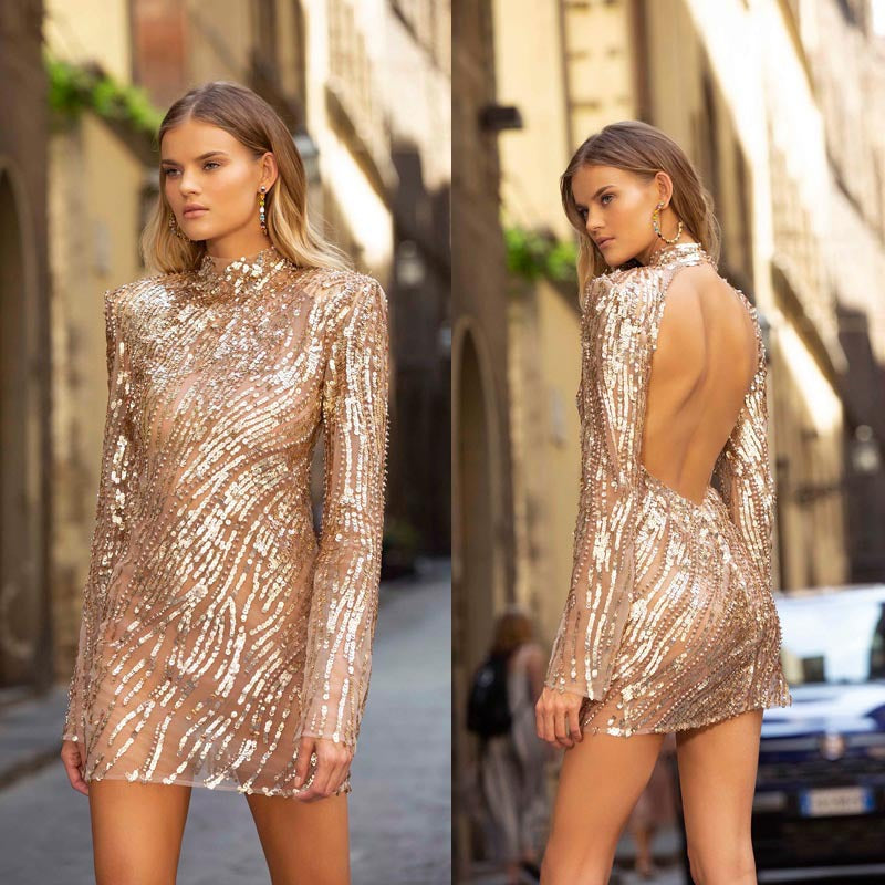 New women's wear in Europe and America in autumn and winter of 2019 wish Amazon sexy open back Sequin dress