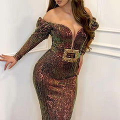 2020 European and American new foreign trade dress eBay Amazon sexy deep V-shaped shoulder slim fishtail skirt