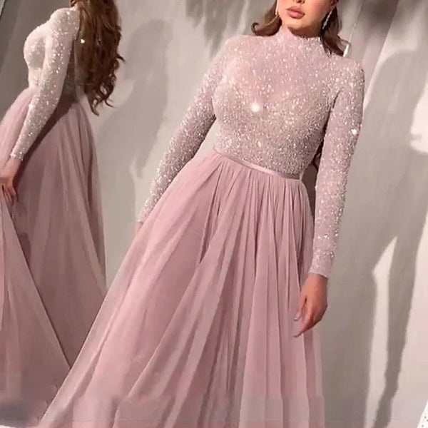 2020 spring new European and American foreign trade women's clothing independent station hot gold mesh long-sleeved evening dress princess dress new model