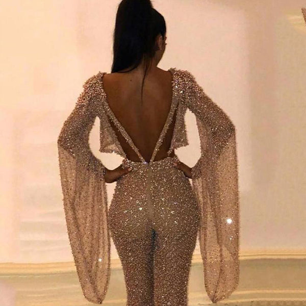 Women's clothing in Europe and America in 2019 eBay Amazon fake two sexy long sleeve open back Jumpsuit pants