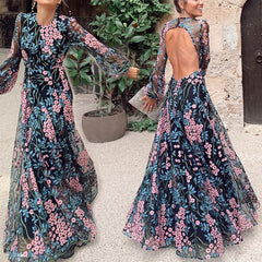 2019 European and American foreign trade new women's wish AMAZON sexy backless slim print dress long skirt
