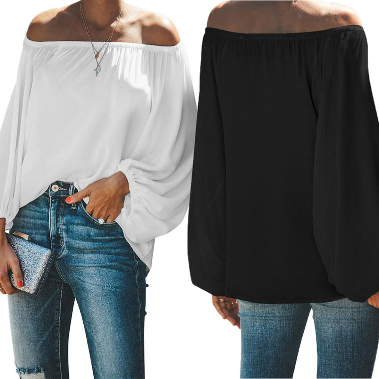 European and American T-shirt women's 2021 summer new solid-colored breast-smudged collar long-sleeved off-the-shoulder head top