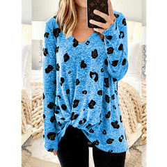 Hot selling popular hem kink long sleeve print V-neck medium length T-shirt for women