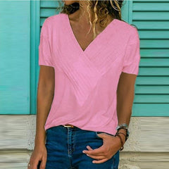 Hot selling slim fit stitching large V-neck solid short sleeve T-shirt