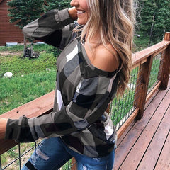 off-the-shoulder grid print popular women's T-shirt spring and autumn top is now