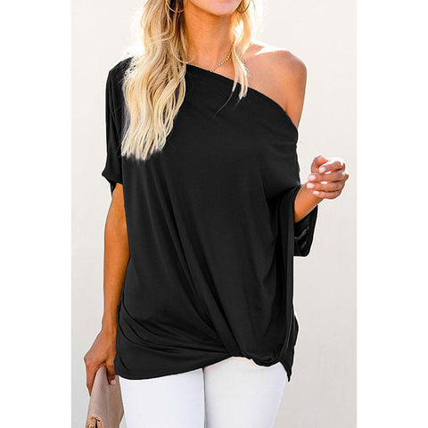 Sexy collar short sleeve shirt 2020 summer new solid color loose European and American T shirt