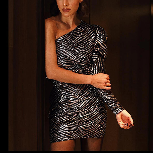 2020 European and American foreign trade new women's wish AliExpress sexy one-shoulder slim hip dress