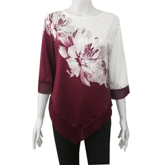 The new hem is irregularly stitched with printed nine-sleeve T-shirt women's wear