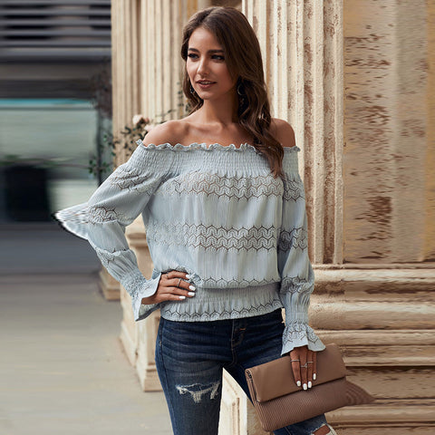 Solid color T-shirt women's 2021 new Euro American one neck long sleeve print off shoulder straight top
