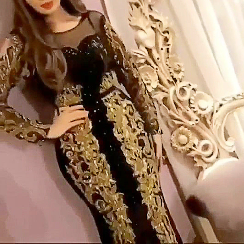 2020 spring cross border new European and American foreign trade women's clothing Amazon independent station long sleeve gilded Dress NEW