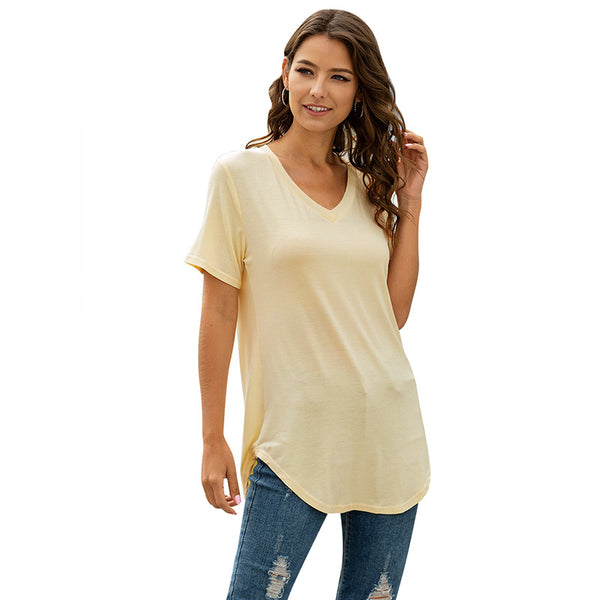 Fashion V-neck short sleeve dovetail loose T-shirt