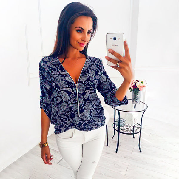Amazon wish women's fashion 2020 new zipper V-neck Pullover printed long sleeve sleeve shirt summer women