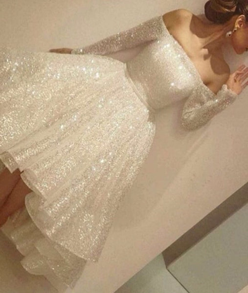 2018 European and American foreign trade new dress wish sexy shoulder Sequin dress shaggy skirt