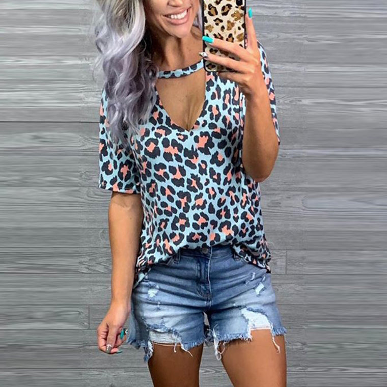 Casual leopard print T-shirt women's summer 2021 new European V-neck short-sleeved outer dress