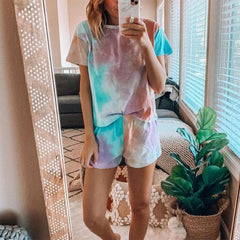 2020 spring and summer European and American cross border home casual two piece set women's summer Amazon short sleeve Boxer Shorts Set