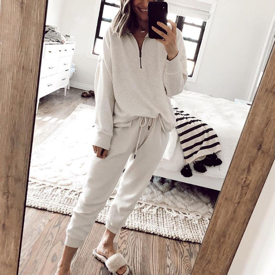2020 spring and summer European and American new home clothes leisure two-piece women's summer Amazon long-sleeved trousers home suit