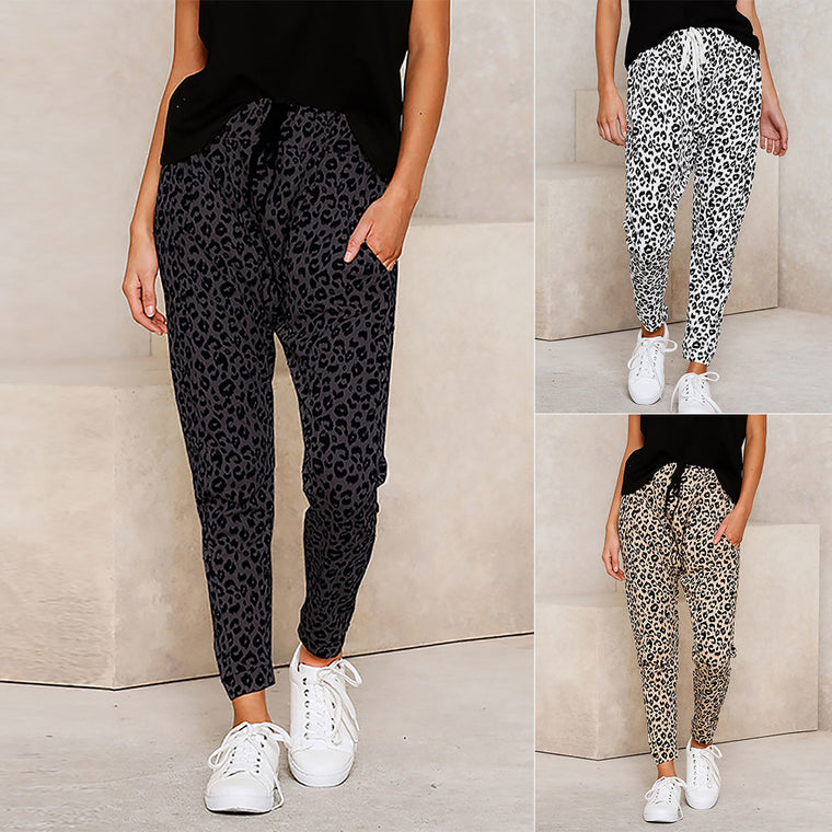 European and American new polka dot casual pants women's elastic pants