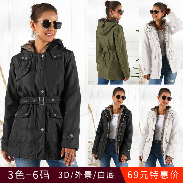 Autumn and winter cotton padded women's medium length thickened coat