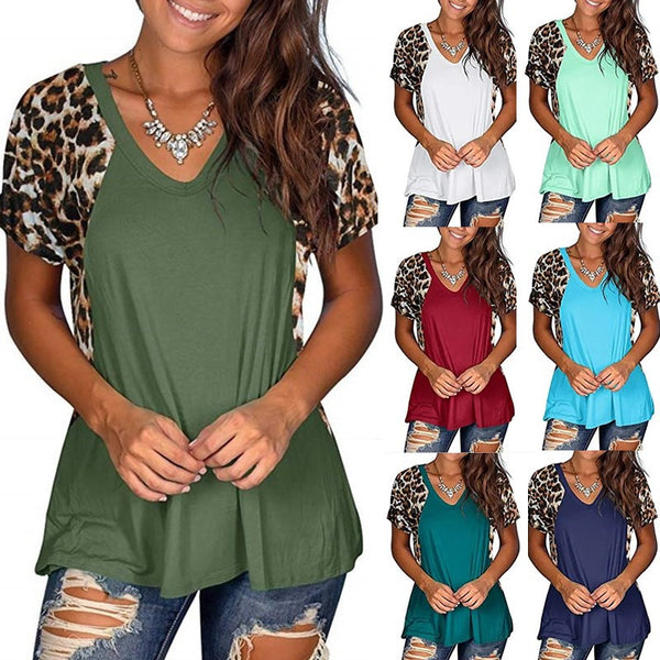 V-neck leopard stitching short sleeve T shirt top