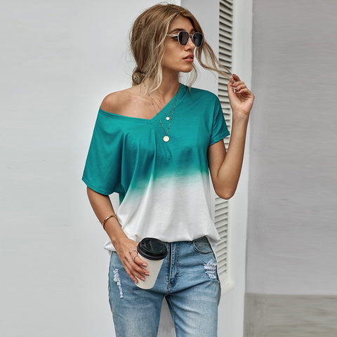2021 summer new mid long short sleeve top women's V-neck mid long gradient T-shirt