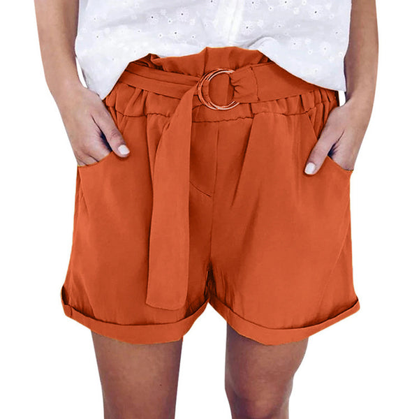 Explosions elastic waist hoop strap solid color loose casual wide leg shorts now
