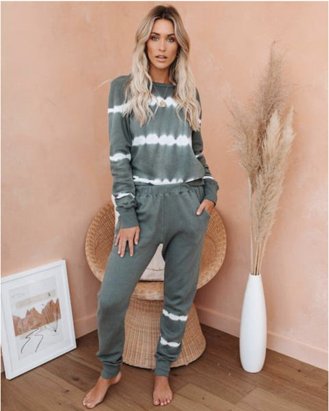 2020 spring and summer new European and American foreign trade new home clothing casual wear two-piece set of women's long-sleeved trousers home set