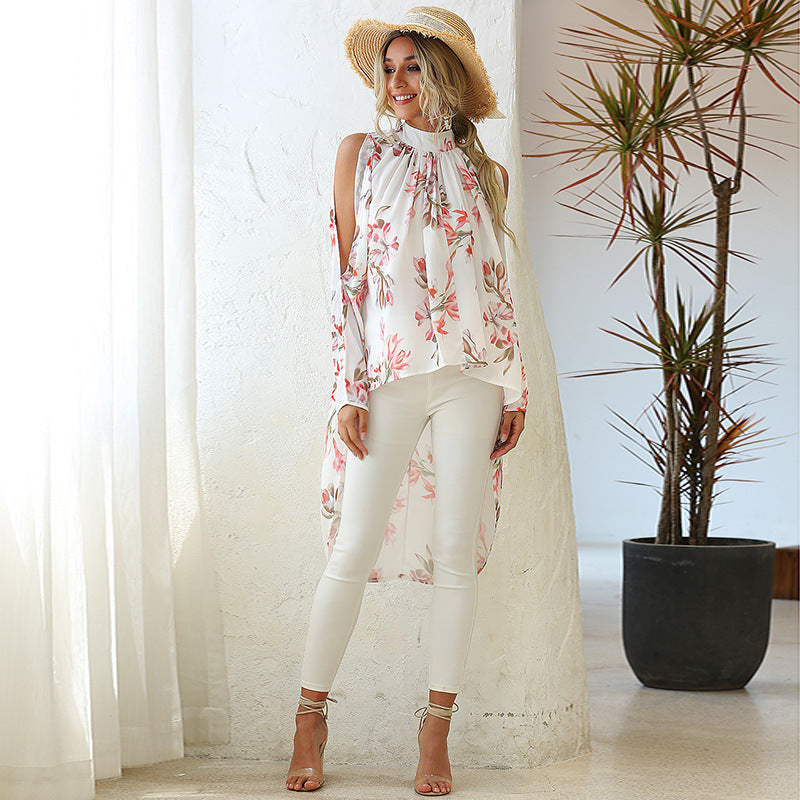 Round-neck print shoulder sleeve sunscreen chiffon shirt
