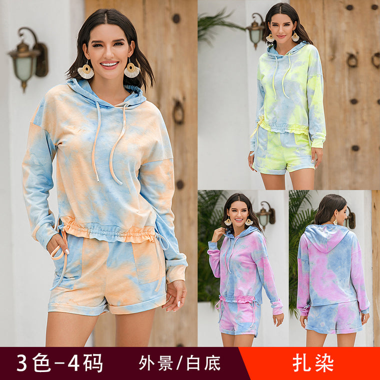 Casual long sleeve shorts suit home clothing sweater