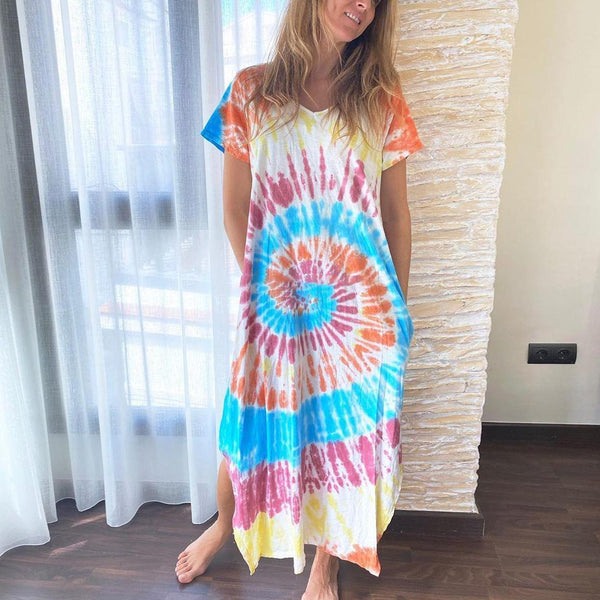 New cross border Printed Dress in spring and summer 2020 Amazon stand alone loose multicolor dress
