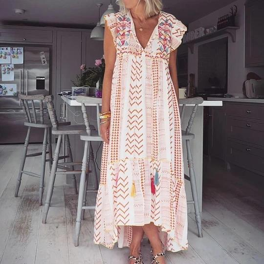 Spring/summer 2020 new European and American foreign trade women's independent station short sleeve V-neck printing big swing loose dress long skirt