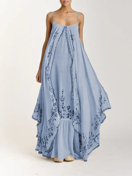 Spring and summer 2020 new European and American foreign trade women's independent station sling tube top printing big swing loose dress long skirt