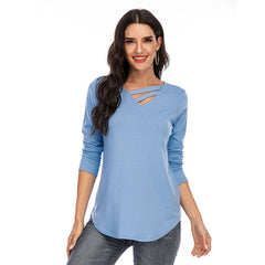 Solid long sleeve V-neck T-shirt