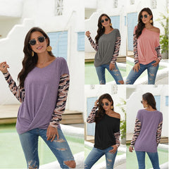 2020 real shot European and American round-neck long-sleeved Amazon slim T-shirt cross-border color cotton medium-length women's t-shirt wholesale