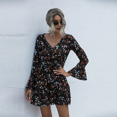 V-neck floral high waist dress