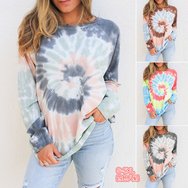 Top selling tie dyed long sleeve printed round neck Plush sweater