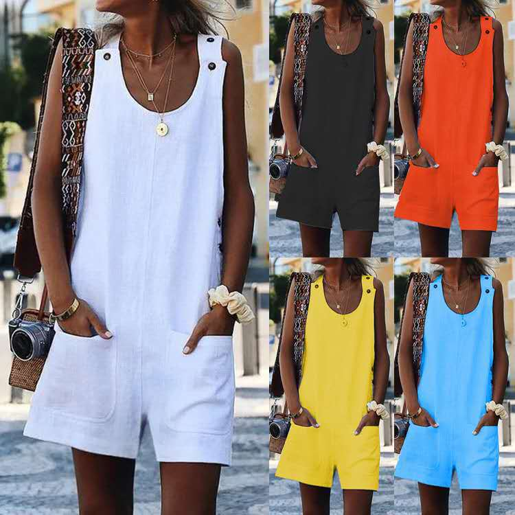 Summer fashion new women's strap pocket button cotton and hemp Jumpsuit