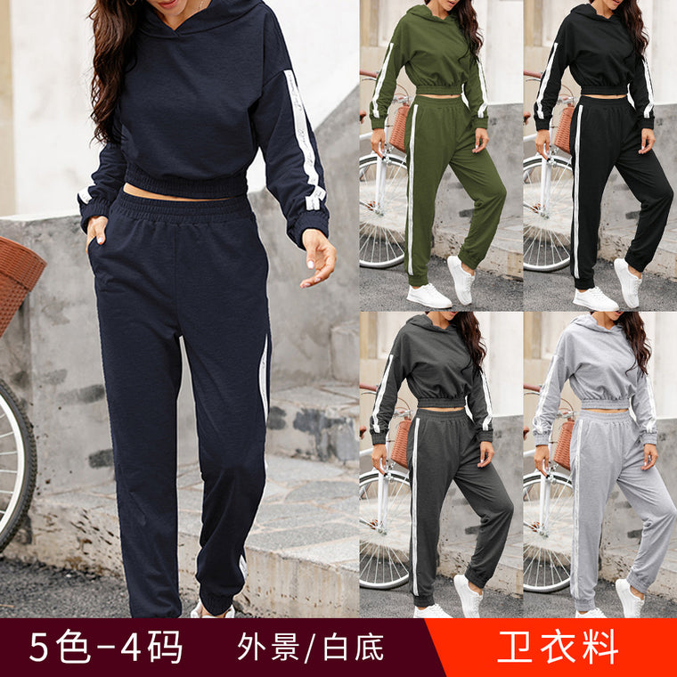 Patchwork sweater suit top casual sports pants