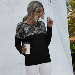 Round neck camouflage printed casual loose long sleeve T-shirt