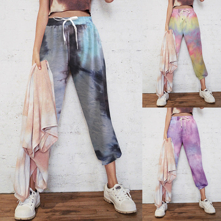 European and American women's tie-dyed casual sweater sports pants home pants pants