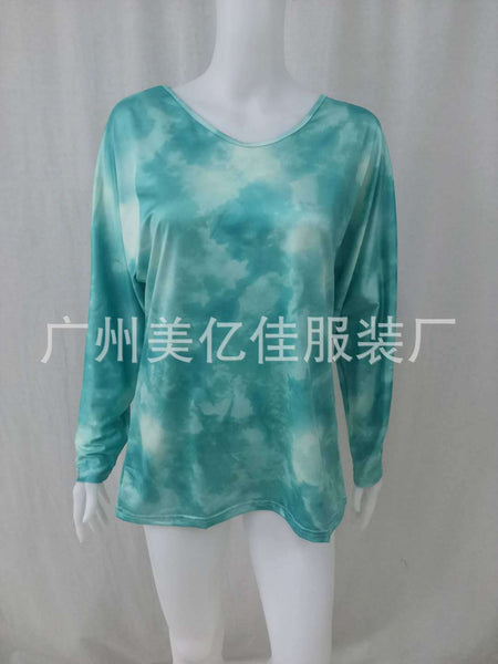 Spring and autumn women's 2020 trend new explosions tie-dye printing loose round neck long sleeve T-shirt now