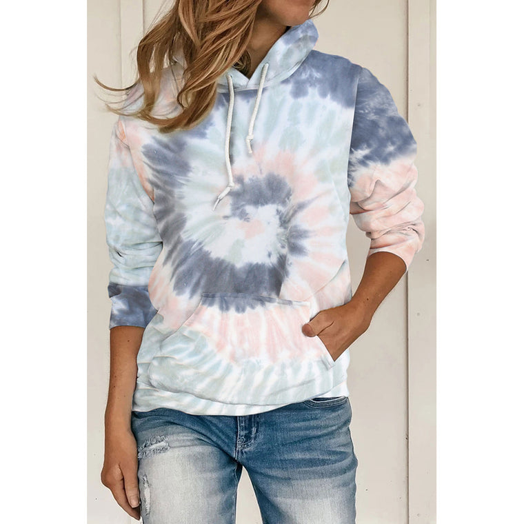 Autumn and winter new tie-dye pocket hooded sweater women loose plus size long sleeve top