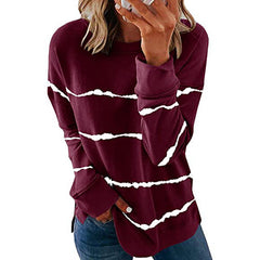 Women's 2020 new autumn Amazon wish popular round neck loose stripe printed long sleeve T-shirt women's sweater