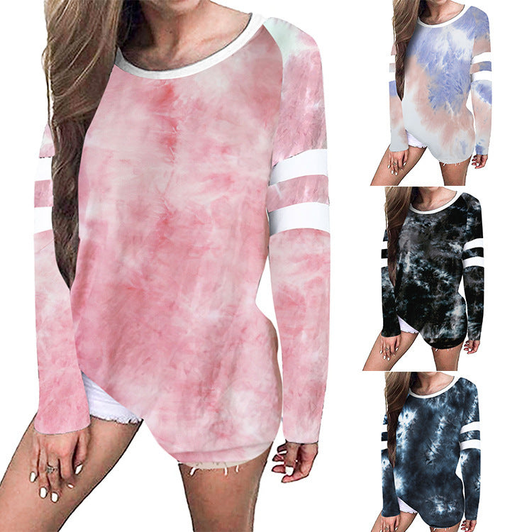 Autumn tie dye long sleeve foreign trade round neck 2 decorative sleeve ring top popular T-shirt