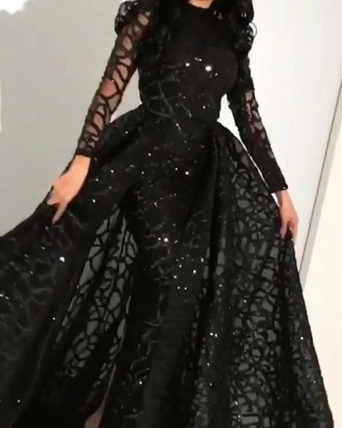 2020 spring and summer new European and American foreign trade women's independent station Amazon long sleeve sequin evening dress new style