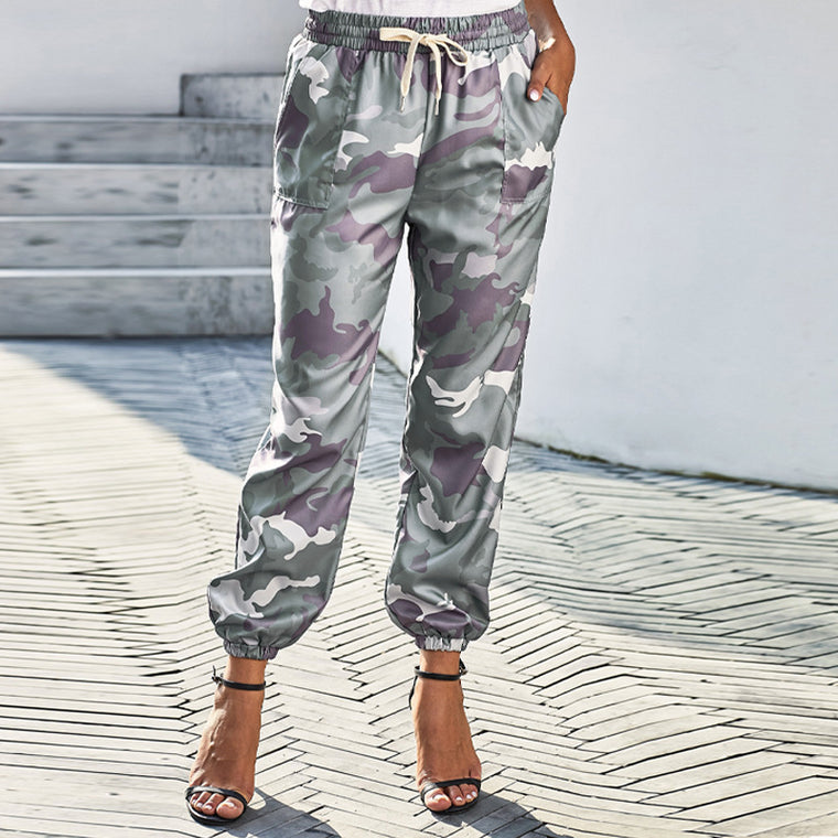 Camo casual feet pants women's 2021 summer new high waist tether pants