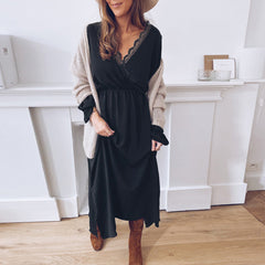 New women's clothing for foreign trade in autumn and winter 2020 wish Amazon new lace V-Neck long sleeve dress loose skirt